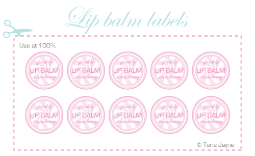 Sparkly strawberry lip balm labels by Torie Jayne