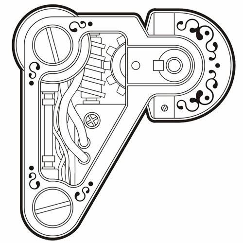 Machine biomechanical (steampunk) tattoo stencil