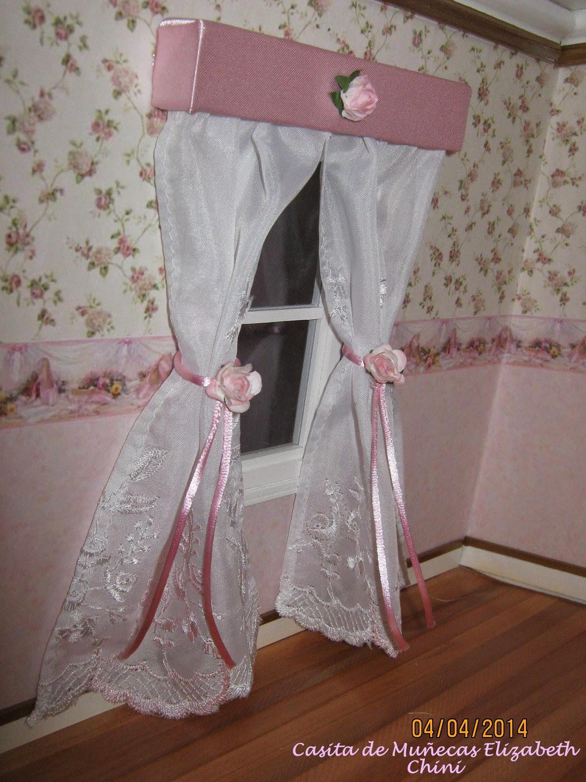 Casita de mu ecas de elizabeth dormitorio de la ni a en - Lazos para cortinas ...