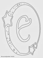 Mewarnai Gambar Huruf Alfabet E Bergaya Bulan Bintang