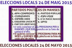 ELECCIONES LOCALES EN MANISES. DOMINGO 24 DE MAYO DE 2015