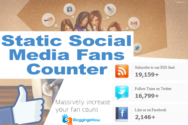 Static Social Media Fans Counter