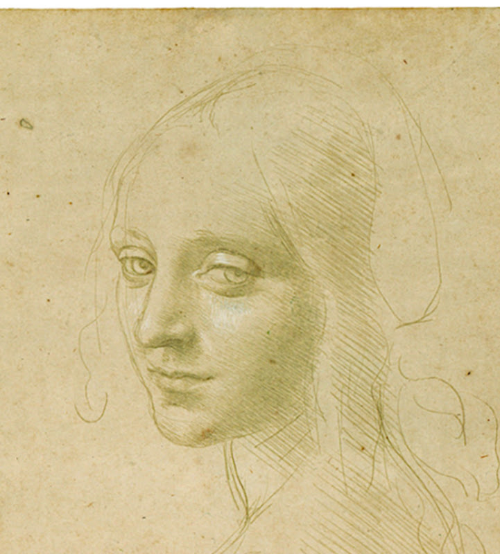 Study for the Angel's Head, The Virgin of the Rocks, Leonardo Da Vinci  title=