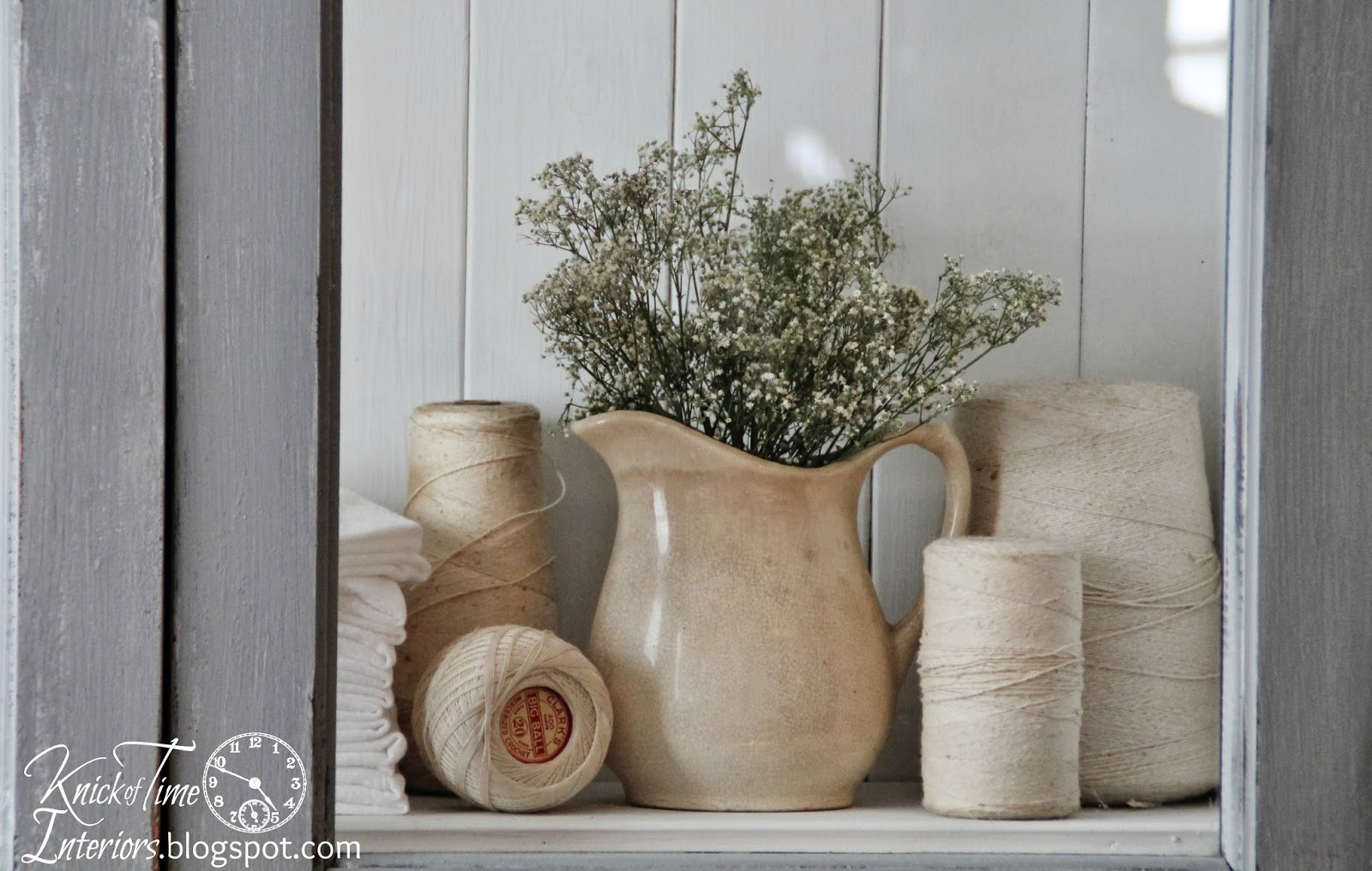 Baby's Breath inside Ironstone Pitcher via Knick of Time