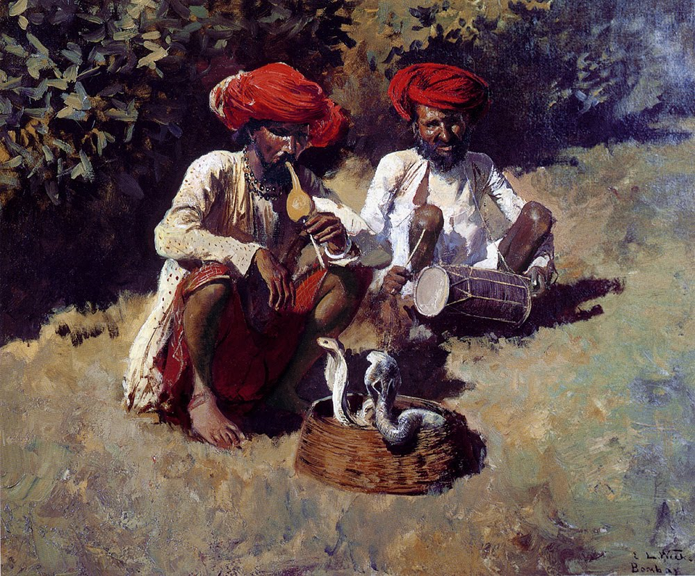 The Snake Charmers of Bombay - Oil Painting by American Artist Edwin