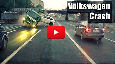 how this already towed Volkswagen Touareg gets destroyed in a severe collision between a garbage truck and the tow truck via geniushowto.blogspot.com accident videos