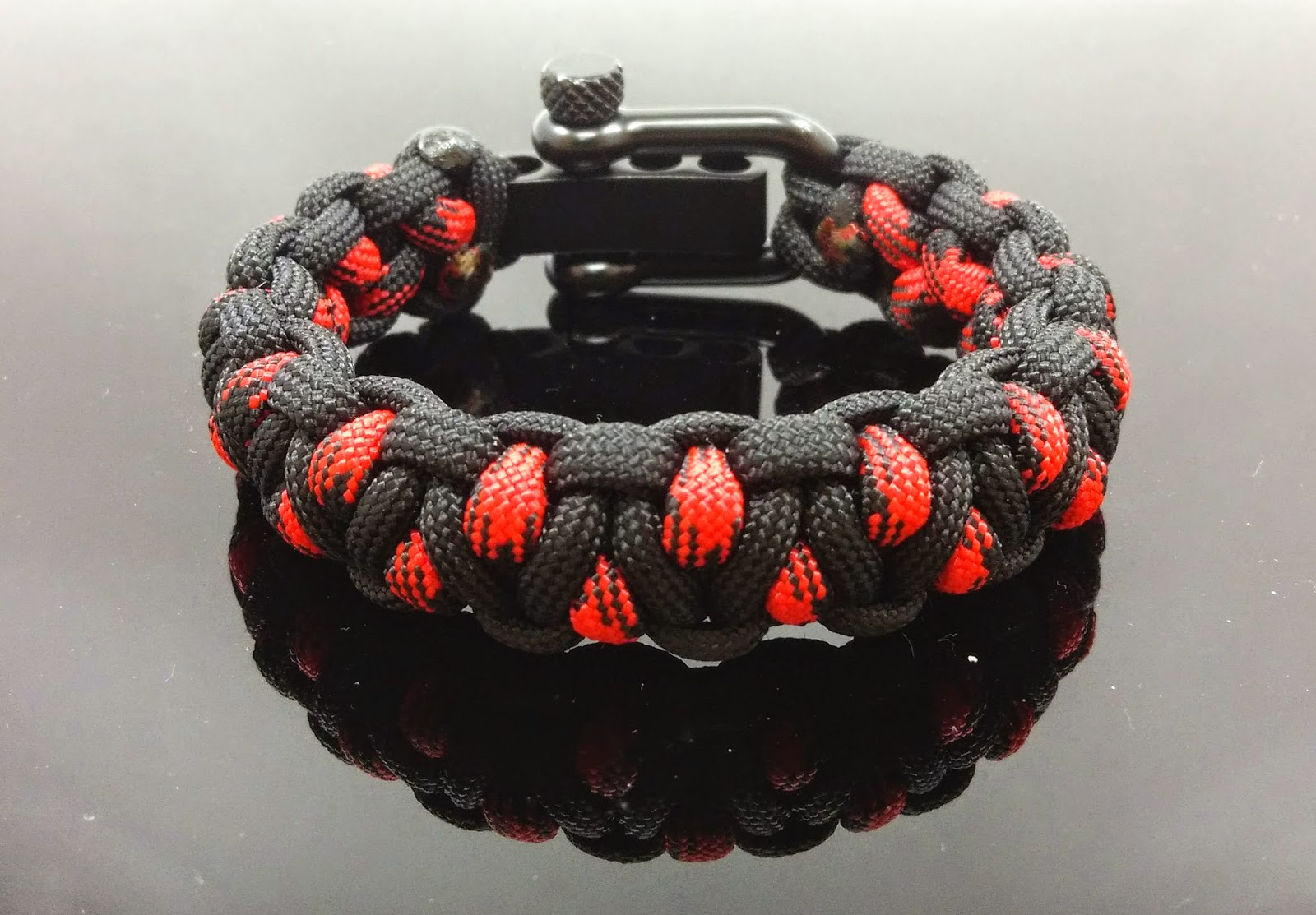 Solomon's Dragon Paracord Survival Bracelets with Black Adjustable Stainless Steel Shackle