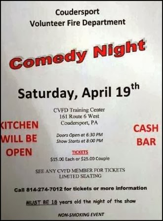 4-19 Comedy Night At Coudersport Fire Dept.