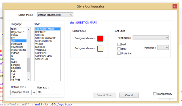 Style Configurator Notepad++