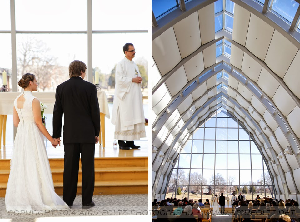 photos of a wedding ceremony at White Chapel on the campus of RHIT