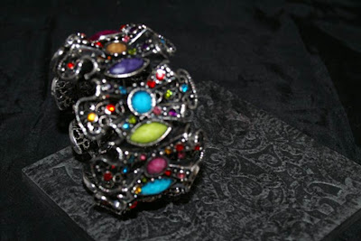 Coloured jewelled cuff