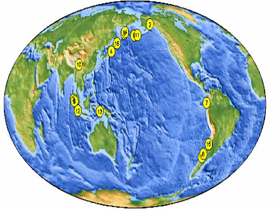 largest earthquake locations