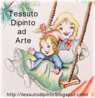 Particolare dipinto a mano con bimbi e altalena