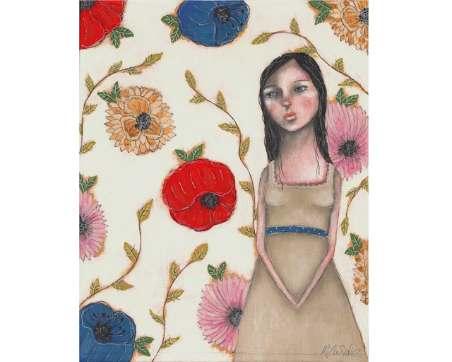 whimsical flowery folk art painting by Micki Wilde