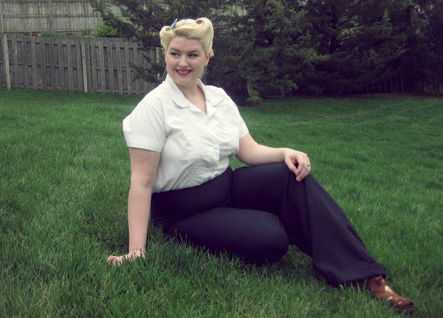 plus size 1940s trousers and victory rolls
