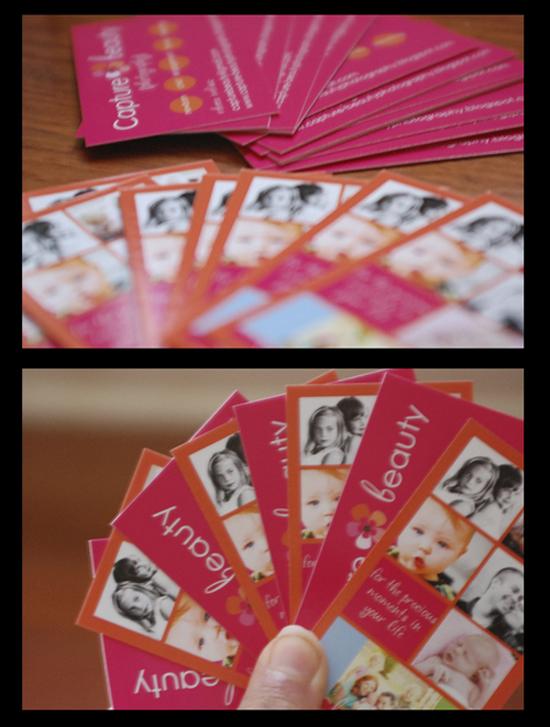 GotPrint Business Cards displaying snapshots of photographs