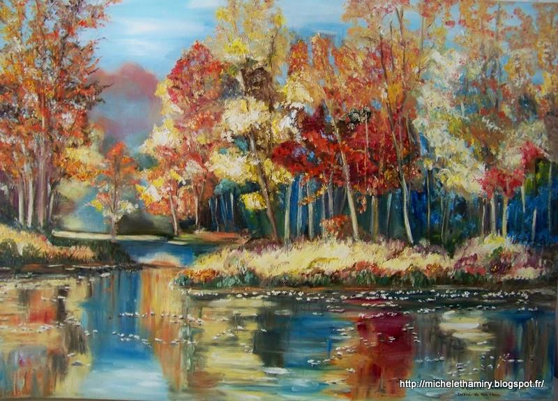 Forêt d automne huile 70x50 cm