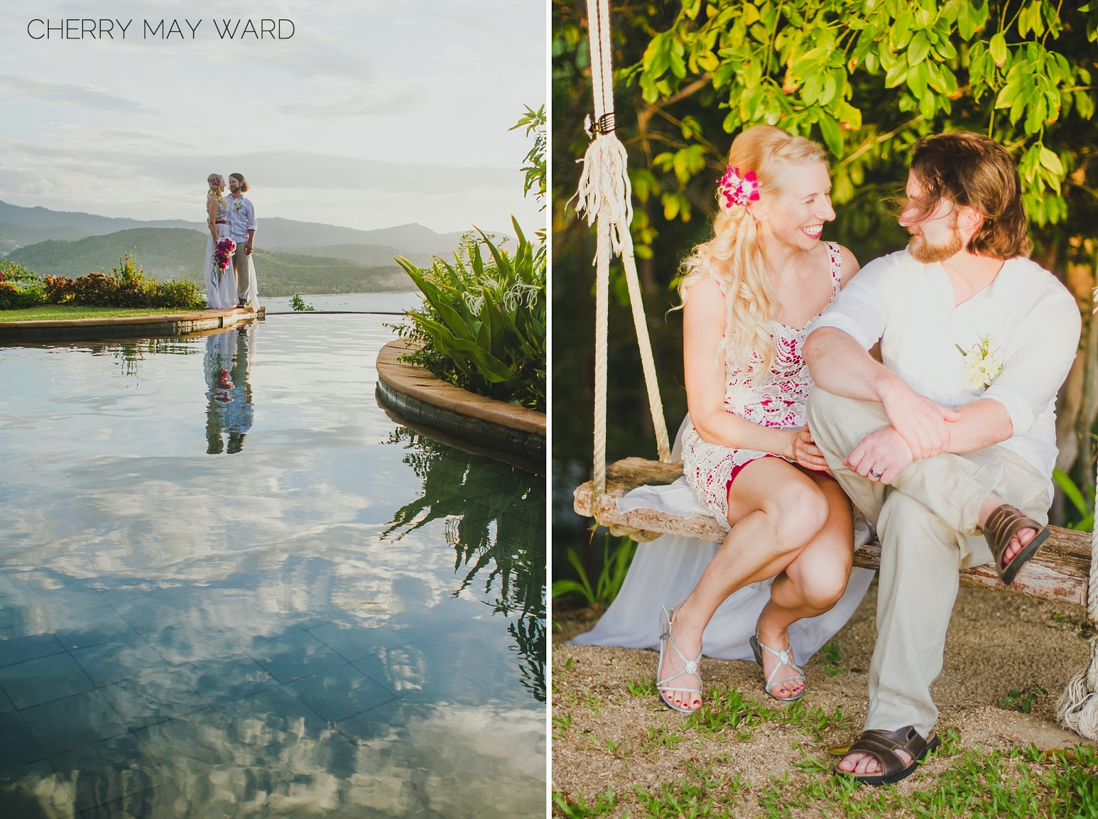 view over the pool, bride and groom across from an infinity pool, bride and groom with a view, grid and groom sitting on a swing, Private villa wedding with a view