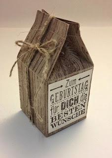 Mini Milchkarton von Stampin Up mit Holzmaserung bestempelt