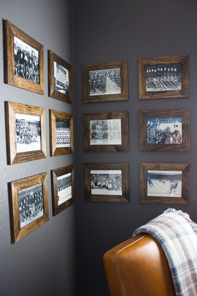 Vintage hockey themed man cave
