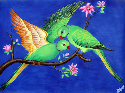 A Pair of Parrots - Painting by Prem Gaire