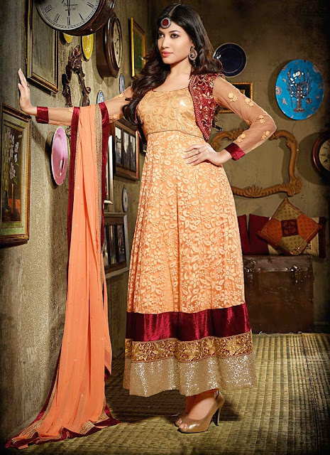 Buy Online Koti Type Net Long Anarkali Suit
