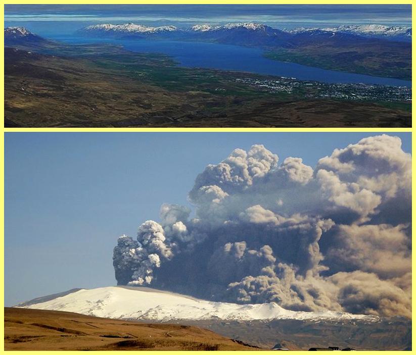 Fiordo Eyjafjörður y Volcán Eyjafjallajökull