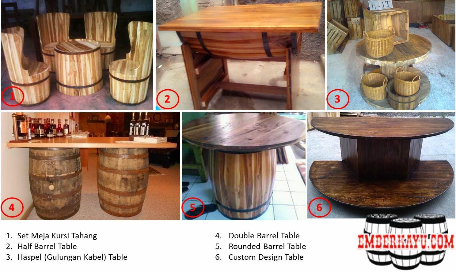 meja kursi tahang, meja kursi barrel, meja kursi antik, meja kursi tong kayu, meja unik, kursi unik, meja kursi vintage