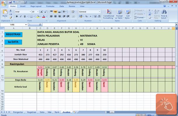 Aplikasi Analisis Butir Soal Isian dengan Microsoft Excel