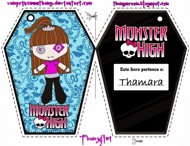 Monster High: marcapáginas para imprimir gratis.