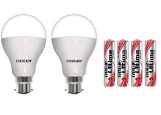 Buy Eveready 7W (pack of 2) LED Bulb with Free 4 Pc Eveready Ultima Alkaline AAA Battery at Rs. 269 Only