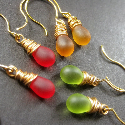 Fall Colors Teardrop Earrings Set of Three, Wire Wrapped, Gold - Autumn Elixirs