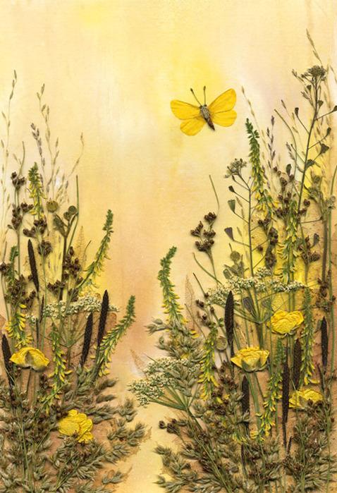 Картина из сухих листьев и цветов своими руками