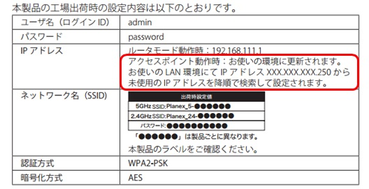 PLANEXルータが「ブリッジモード(アクセスポイントモード)」で動作している場合のIPアドレスを、取扱説明書から確認