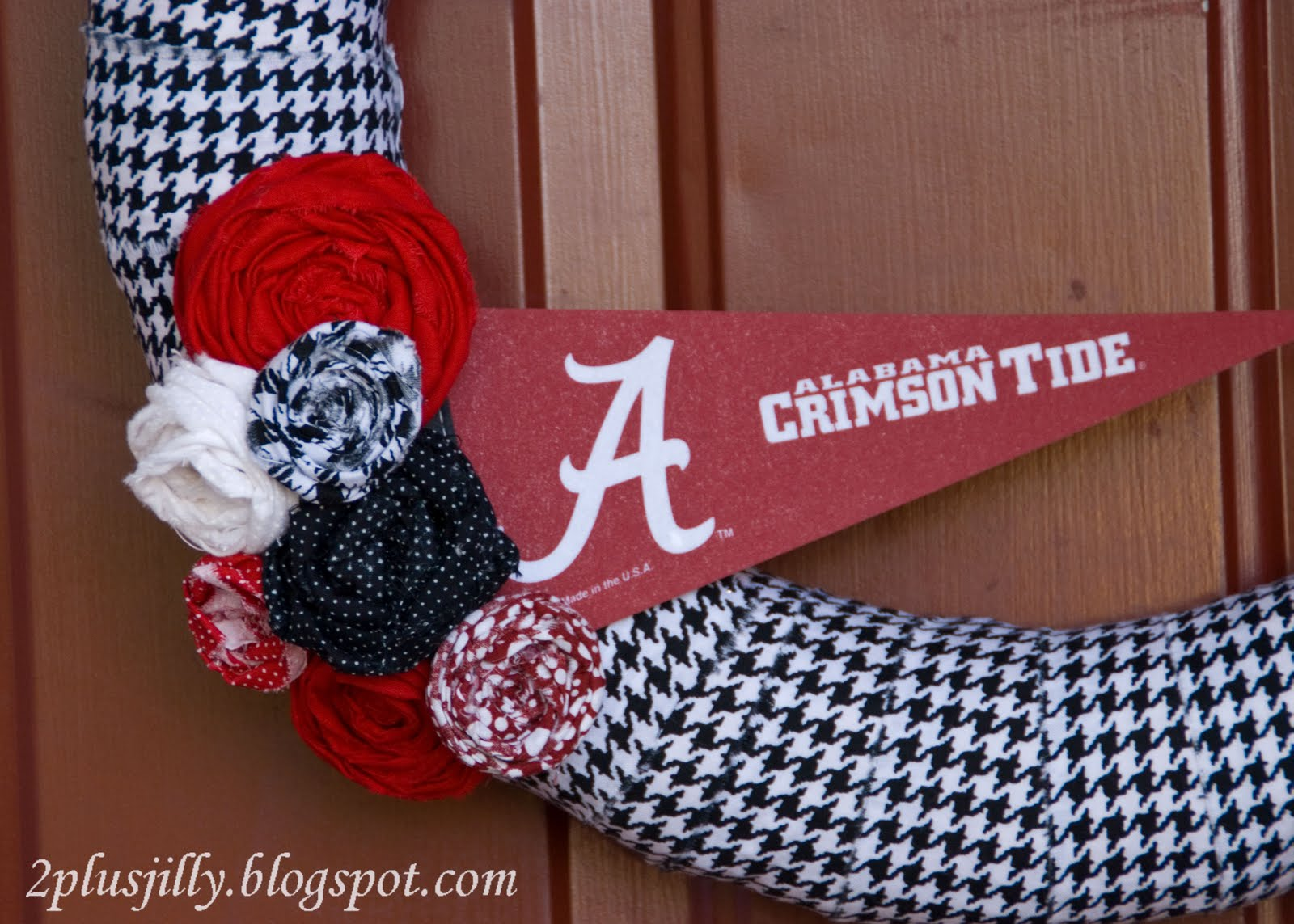 I think the wreath looks great on our crimson door! & Two Plus Jilly: Roll Tide Wreath