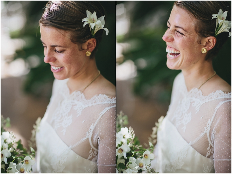 Close up photos of bridal flower in hair