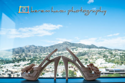 The bride's shoes with The San Gaabriel Mountains as the backdrop