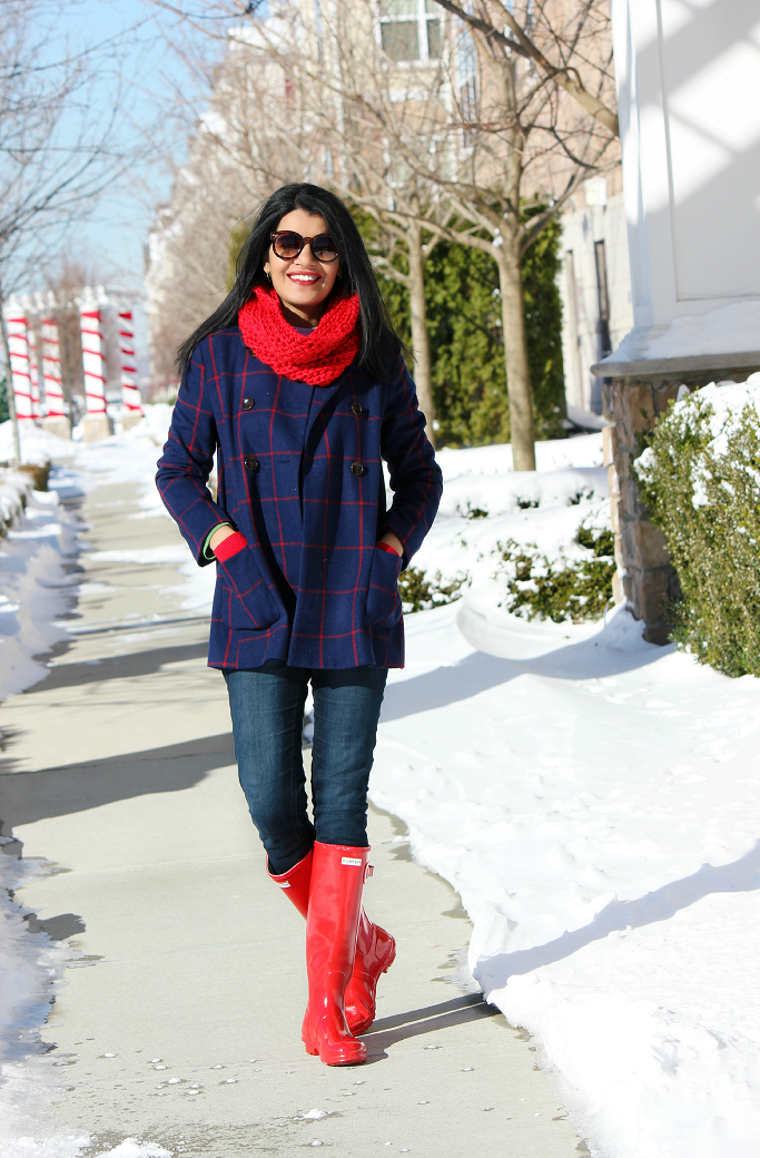 Style-Delights: Lookbook : Plaid Pea Coat, Hunter Boots & Accents ...