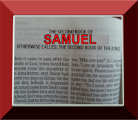 A photo of the front page of the book in the Bible of Second Samuel, with Samuel printed in large red capital letters set in a red frame, graphic by Erika Grey