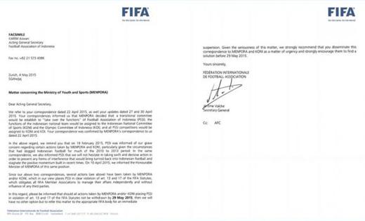 Surat FIFA Ancam Sanksi PSSI