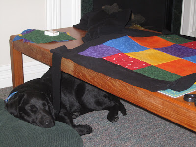 4 month old black lab Romero is peacefully sleeping under a small wooden coffee table with his head resting on a big green pillow. The table is covered with quilting supplies and the beginning of a dog-themed quilt. Currently, the quilt consists of 12 coloured squares sewn together into a 4 by 3 rectangle. There are two each of red, orange, yellow, green, blue, and purple fabric. The red fabric is patterned with white bones and brown paw prints. The orange fabric is sort of mottled, light orange in some places and darker orange in others. The yellow fabric is covered in straight lines of small dots. The green fabric has a very small leaf-like pattern. The blue fabric is covered in small light blue paw prints. The purple fabric is patterned with stars. Around the rectangle, long thin strips of plain black border have been laid out, ready to be sewn on next. One of these strips is hanging of the table and dangling right in front of Romero's face. On the end of the table is a large piece of plain black fabric, and a box of pins resting on top of a pile of more coloured squares.