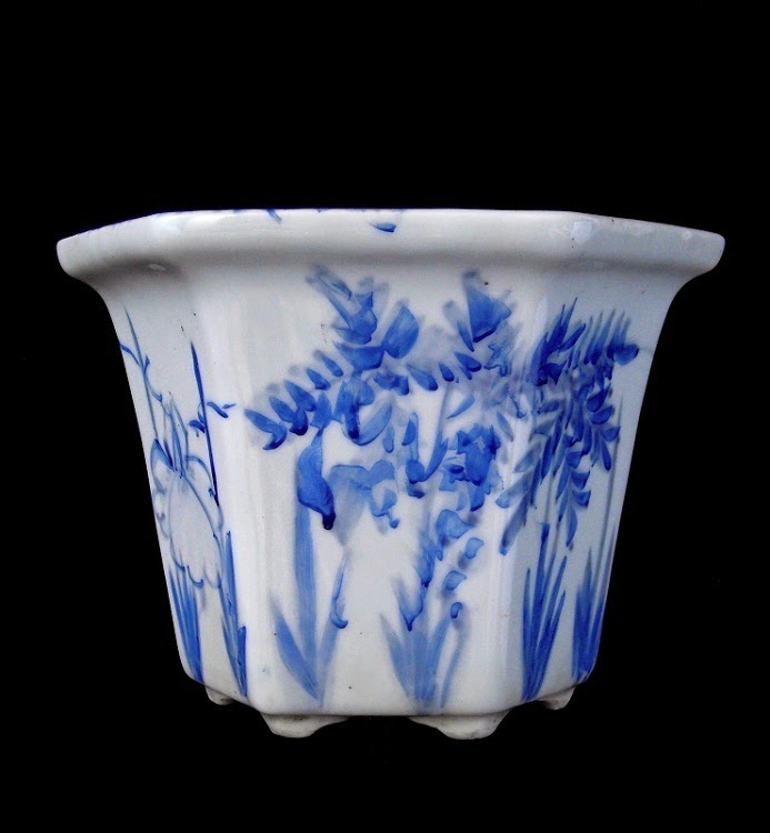 patina antik japanese blue white imari planter