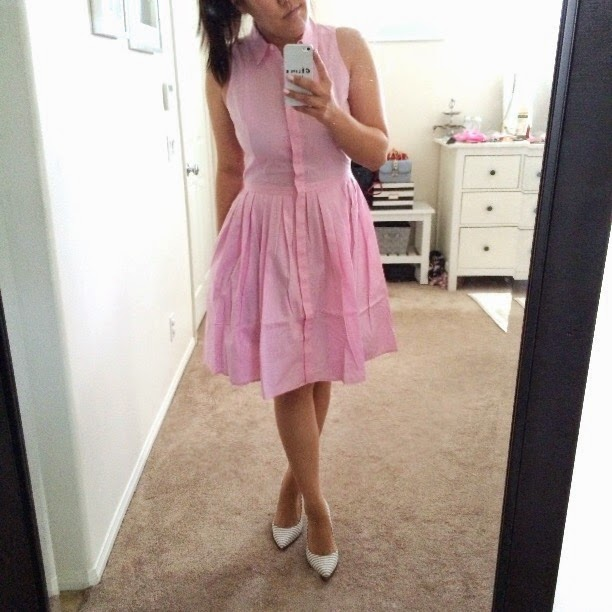 simplyxclassic, sleeveless shirtdress, ann taylor dress, anntaylor, ann taylor, pink dress