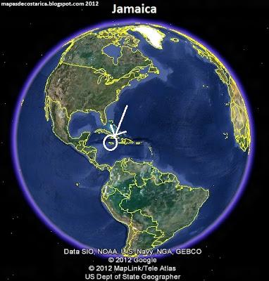 Mapa de Jamaica en El Mundo, Google Earth