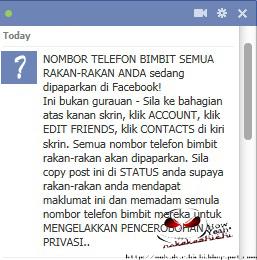 Nak nombor telefon awek cun di FB??