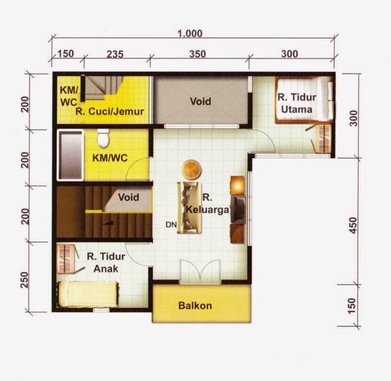 denah rumah type 70 120 lantai 2