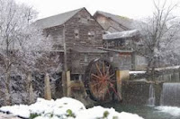 The beautiful Old Mill in snow - Pigeon Forge