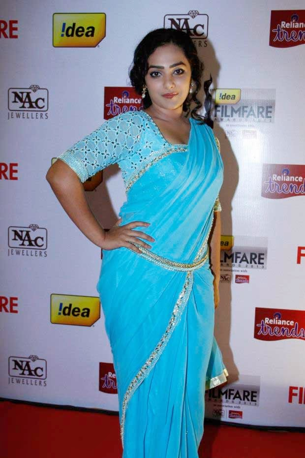 Nithya Menen In Sky Blue Color Saree