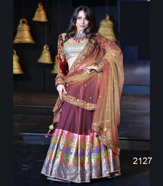 2127-Malaika Arora Maroon Blender Pride Lengha Choli