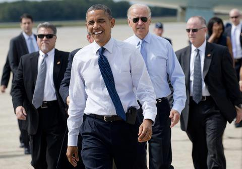 SAIC Vic Erevia (left) with President Obama and VP Biden 10/31/12